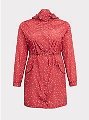 Plus Size Red Polka Dot Nylon Hooded Longline Rain Jacket, , hi-res