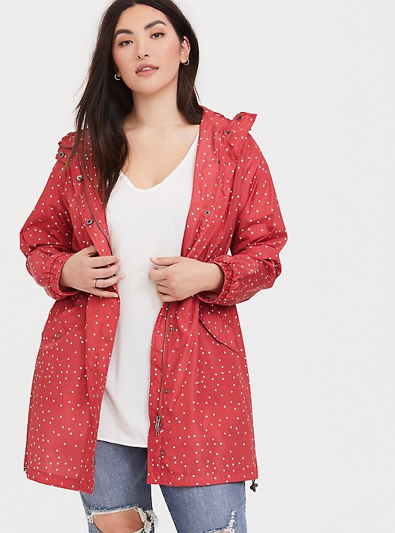 Plus Size Red Polka Dot Nylon Hooded Longline Rain Jacket, , hi-res