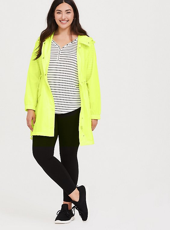 Neon Yellow Nylon Hooded Longline Rain Jacket, , hi-res