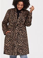 Plus Size Leopard Print Woolen Car Coat, , alternate