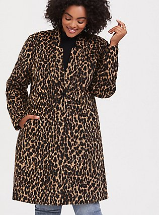 Leopard Print Woolen Car Coat, , alternate