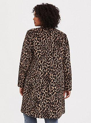Leopard Print Woolen Car Coat, , alternate