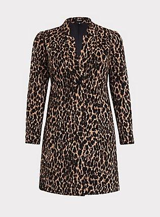 Leopard Print Woolen Car Coat, , flat