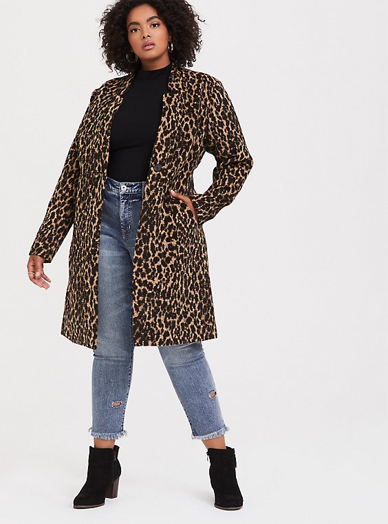 Leopard Print Woolen Car Coat, , hi-res