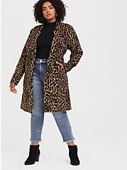 Plus Size Leopard Print Woolen Car Coat, , hi-res