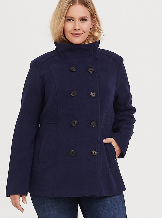 Navy Double-Breasted Peacoat, , hi-res