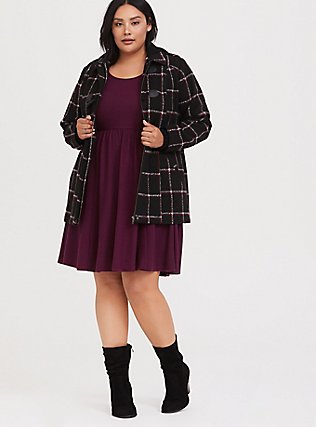 Black & Red Plaid Woolen Toggle Coat with Hood, , alternate