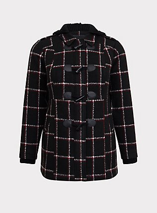 Black & Red Plaid Woolen Toggle Coat with Hood, , flat