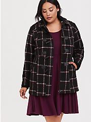 Black & Red Plaid Woolen Toggle Coat with Hood, , hi-res