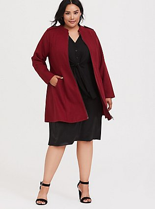Dark Red Woolen Swing Coat, , alternate