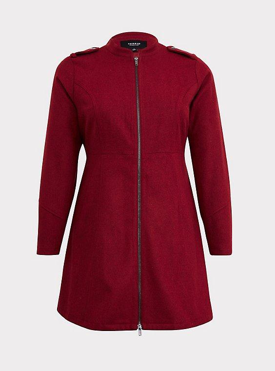 Dark Red Woolen Swing Coat, , flat