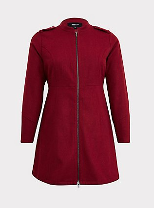 Dark Red Woolen Swing Coat, , flat