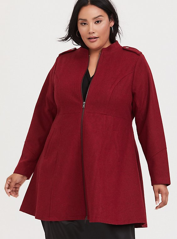 Plus Size Dark Red Woolen Swing Coat, , hi-res