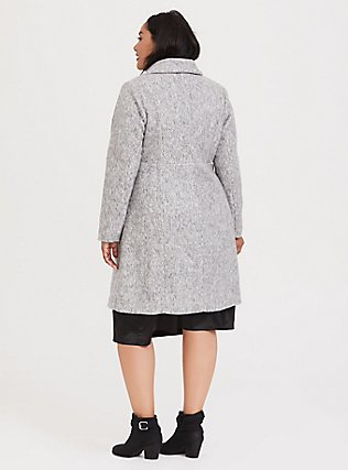 Marled Light Grey Hacci A-line Coat, , alternate