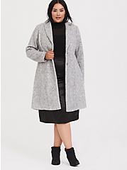 Marled Light Grey Hacci A-line Coat, , alternate