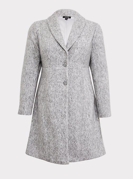 Marled Light Grey Hacci A-line Coat, , flat
