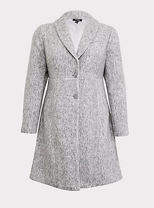 Marled Light Grey Hacci A-line Coat, , flat