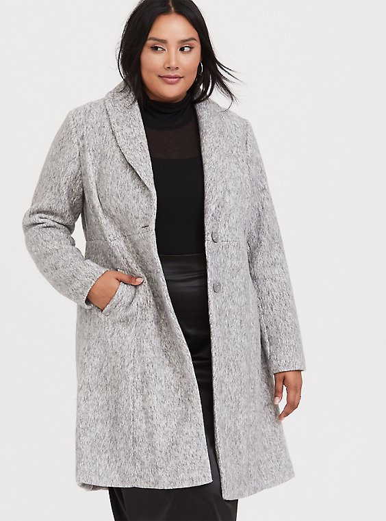 Plus Size Marled Light Grey Hacci A-line Coat, , hi-res