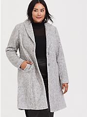 Marled Light Grey Hacci A-line Coat, , hi-res