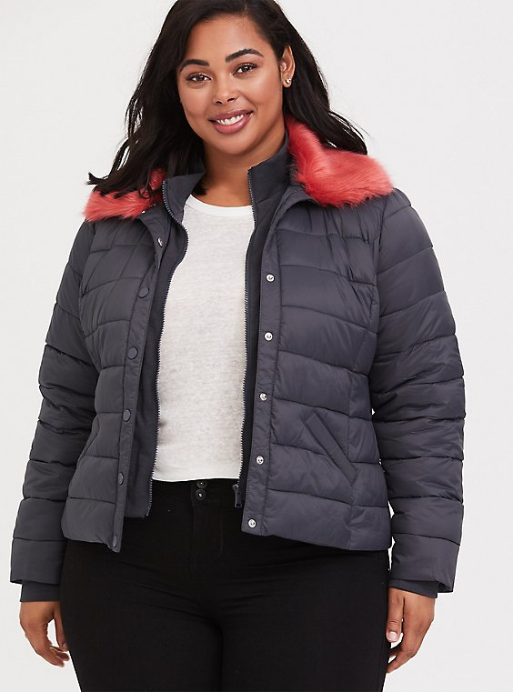Grey & Pink Faux Fur Puffer Jacket, , hi-res