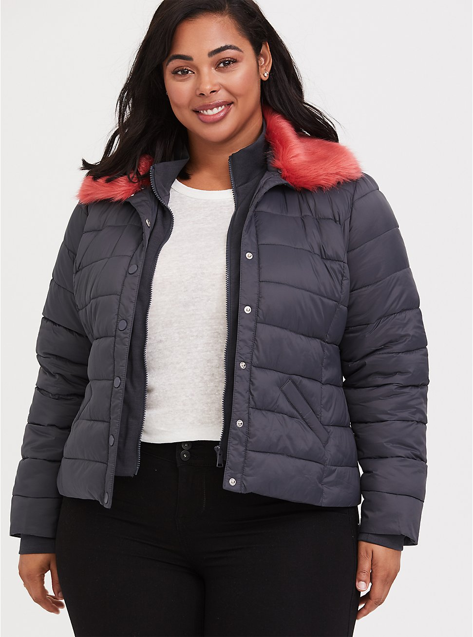 Plus Size Grey & Pink Faux Fur Puffer Jacket, , hi-res