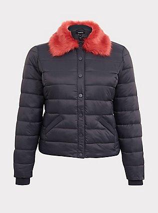 Grey & Pink Faux Fur Puffer Jacket, , ls