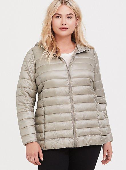 Silver Packable Nylon Puffer Coat, , alternate