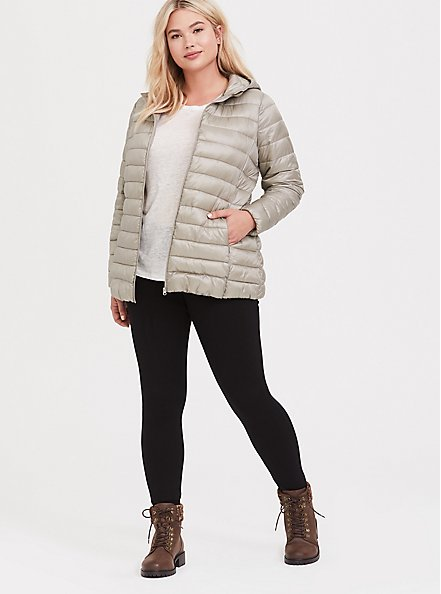 Silver Packable Nylon Puffer Coat, , hi-res
