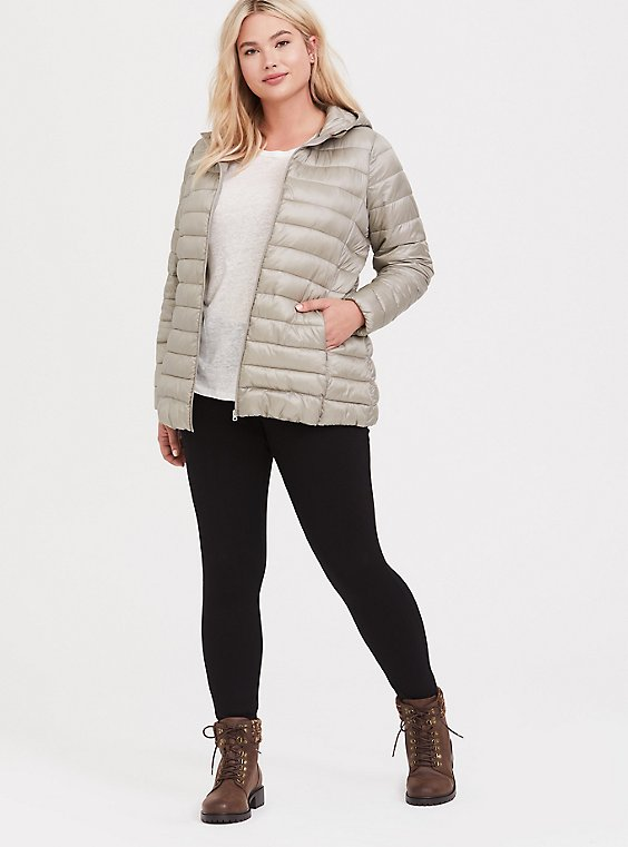 Champagne Nylon Packable Puffer Jacket, , hi-res