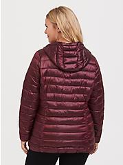 Burgundy Purple Nylon Packable Puffer Jacket, , alternate
