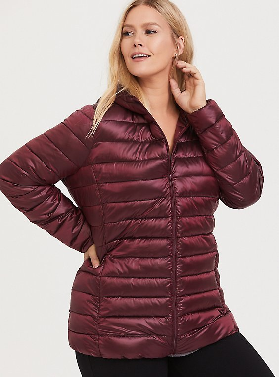 Burgundy Purple Nylon Packable Puffer Jacket, , hi-res