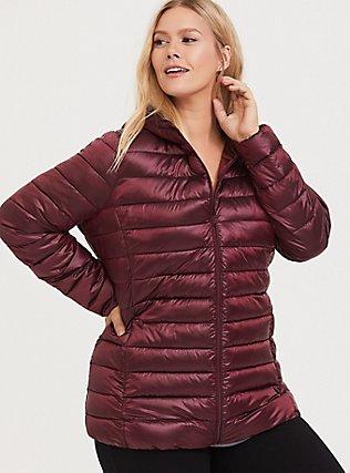 Burgundy Purple Nylon Packable Puffer Jacket, , hi-res