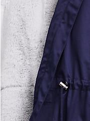 Navy Twill Faux Fur Trim Hooded Parka, , alternate