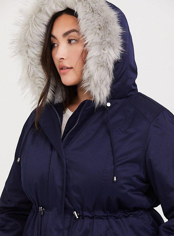 Navy Fur Trim Hooded Parka