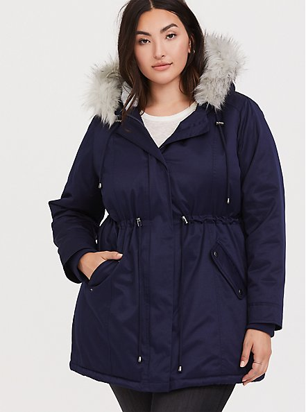 Navy Twill Faux Fur Trim Hooded Parka, , alternate