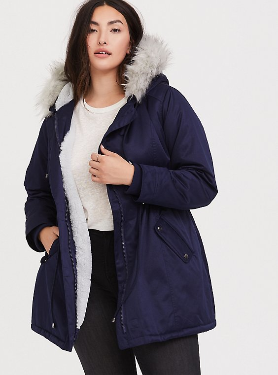 Plus Size Navy Twill Faux Fur Trim Hooded Parka, , hi-res