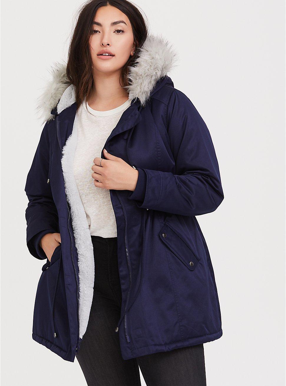 Navy Twill Faux Fur Trim Hooded Parka, , hi-res