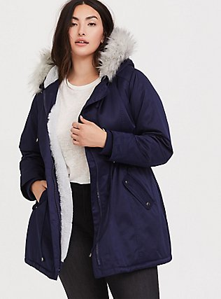 Navy Twill Faux Fur Trim Hooded Parka, , hi-res