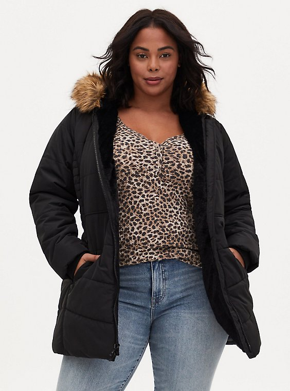 Black Faux Fur Trim Hooded Fit & Flare Puffer Coat, , hi-res
