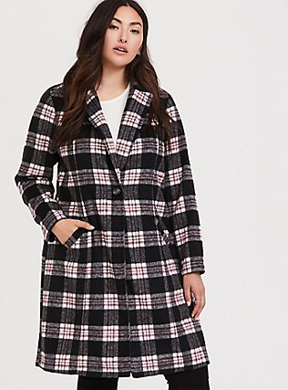 Black & White Plaid Top Coat, , alternate