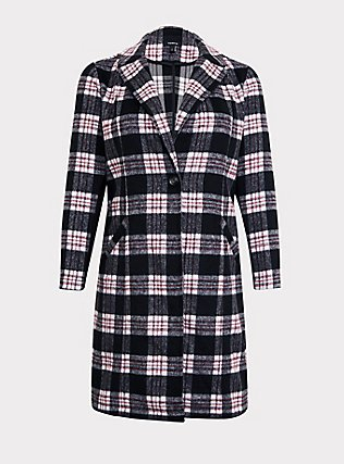 Black & White Plaid Top Coat, , flat