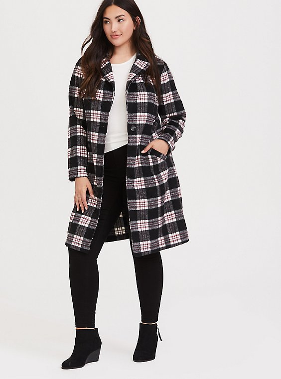 Plus Size Black & White Plaid Trench Coat, , hi-res