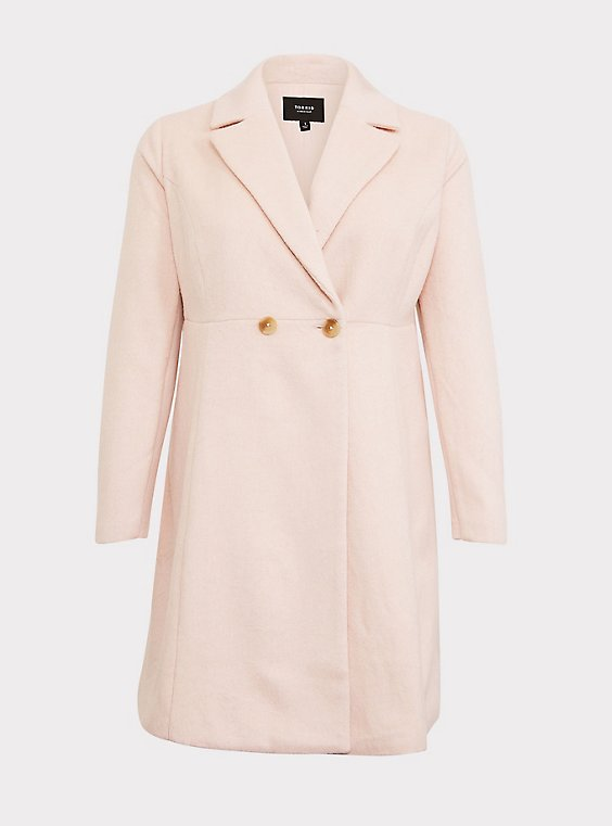 Light Pink Woolen Fit & Flare Coat, , flat