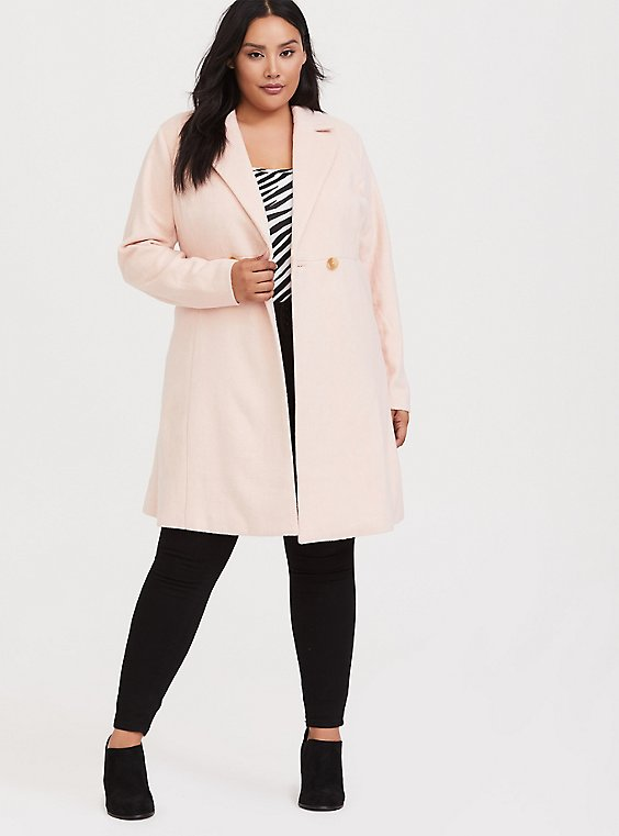 Plus Size Light Pink Woolen Fit & Flare Coat, , hi-res