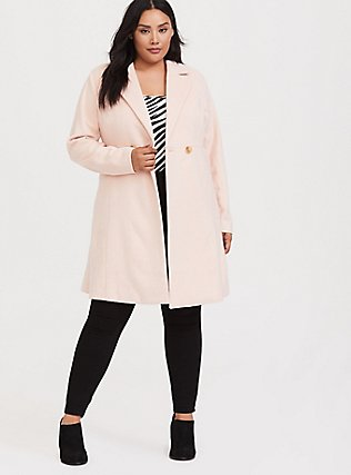 Light Pink Woolen Fit & Flare Coat, PALE BLUSH, hi-res