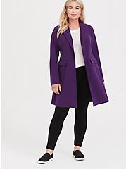 Plus Size Purple Brushed Premium Ponte Coat, , alternate
