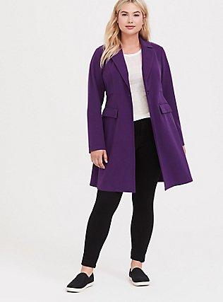 Purple Brushed Premium Ponte Coat, , alternate