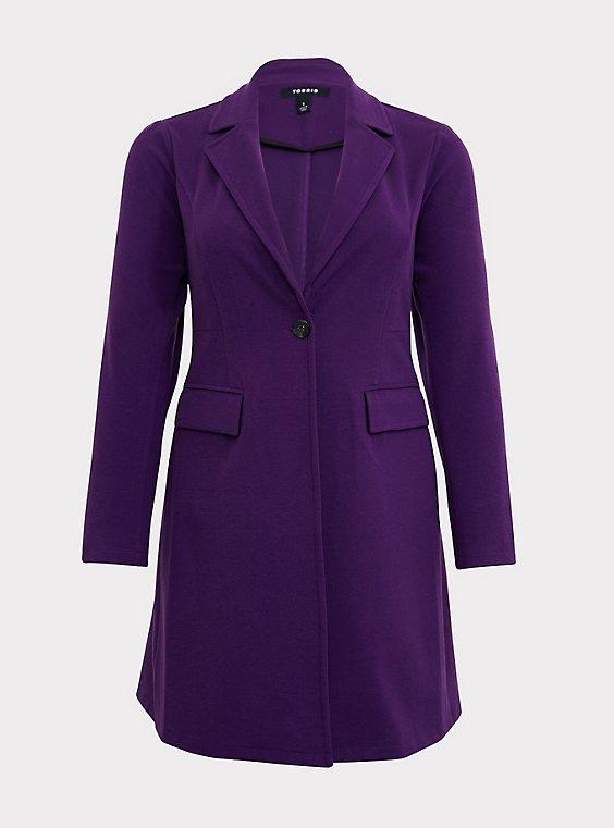 Purple Brushed Premium Ponte Coat, , flat
