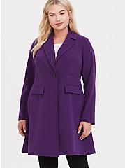 Plus Size Purple Brushed Premium Ponte Coat, , hi-res