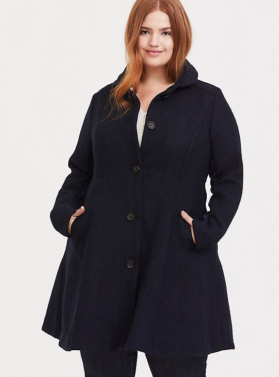 Plus Size Navy Woolen Peter Pan Collar A-line Coat, , hi-res